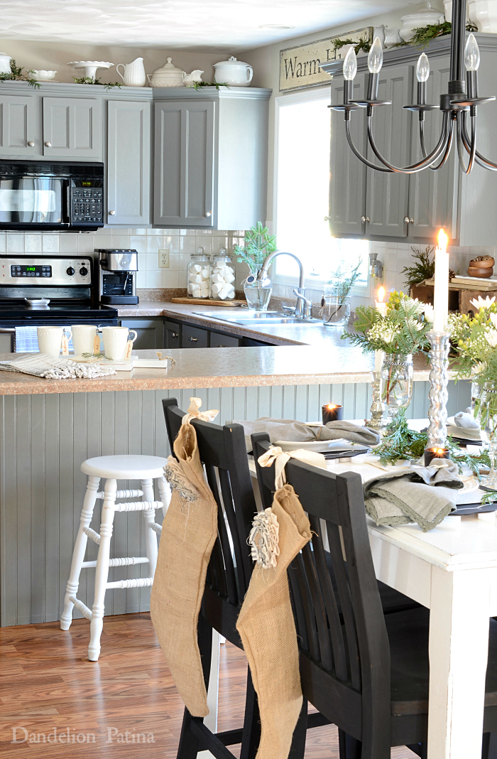 Cottage style kitchen with industrial flair. Gray cabinetry. via dandelionpatina.com #cottagestyle