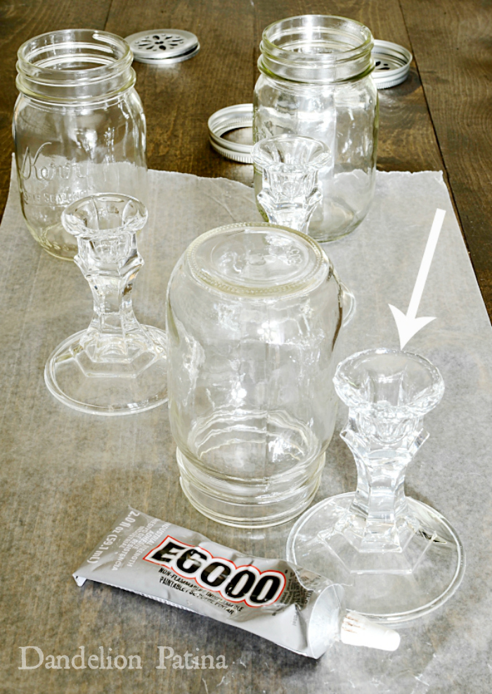 how to make beautiful mason jar pedestal vases with glass candleholders