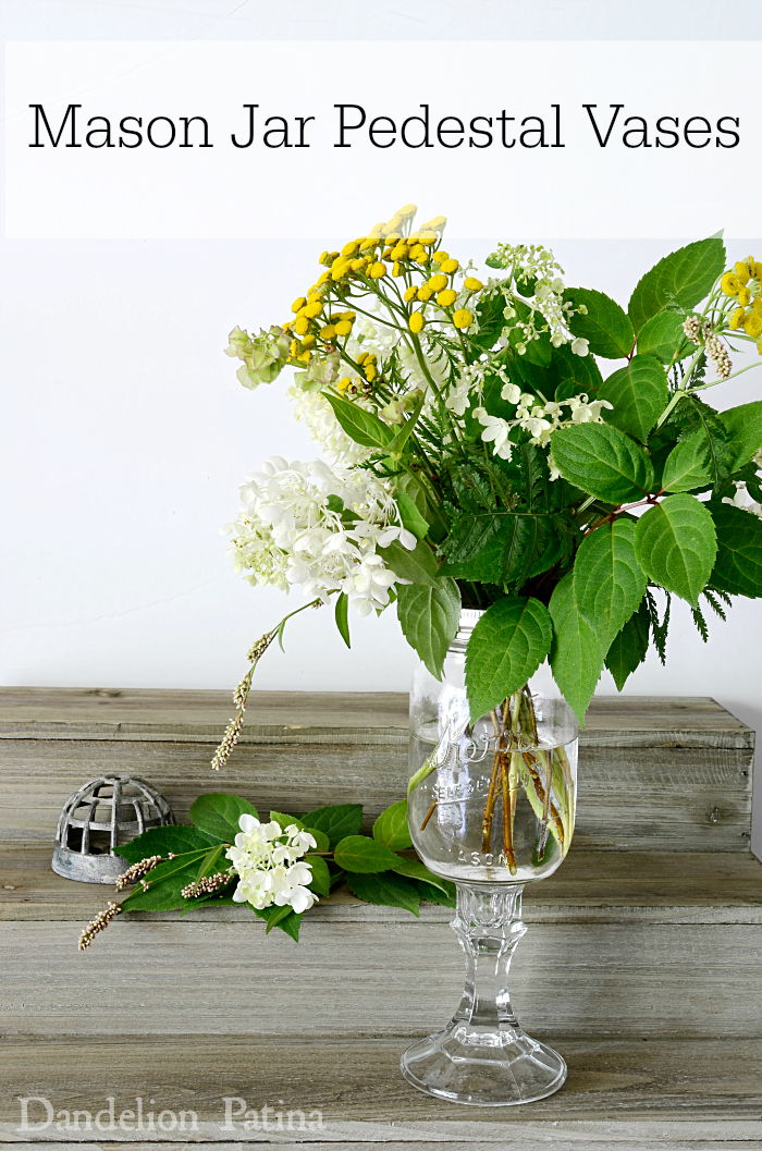create your own mason jar pedestal vases with glass candle holders via dandelionpatina.com