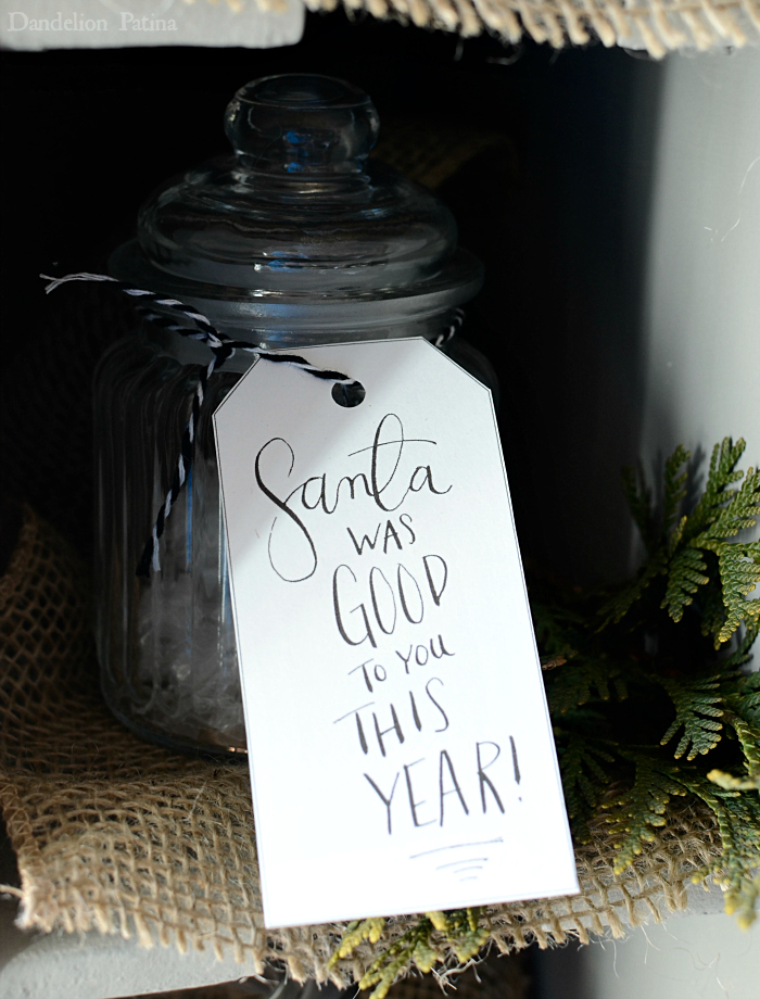 Santa was good to you this year gift tag with vintage postal sorter glass jars