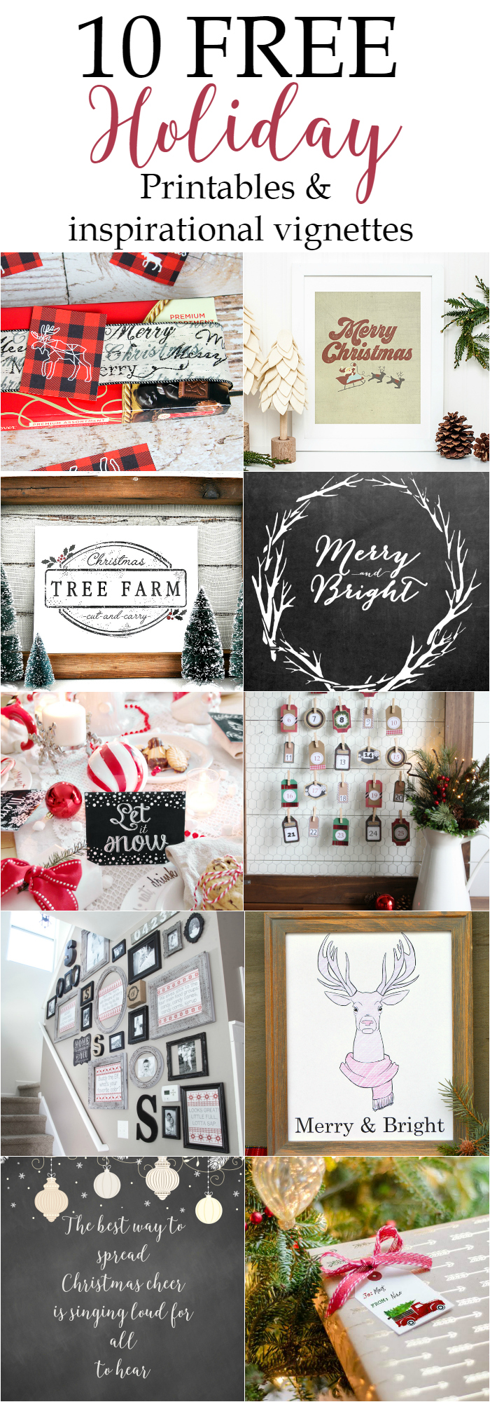 Get your 10 free holiday printables with gorgeous and inspiring holiday vignettes via dandelionpatina.com #freeprintable #holiday