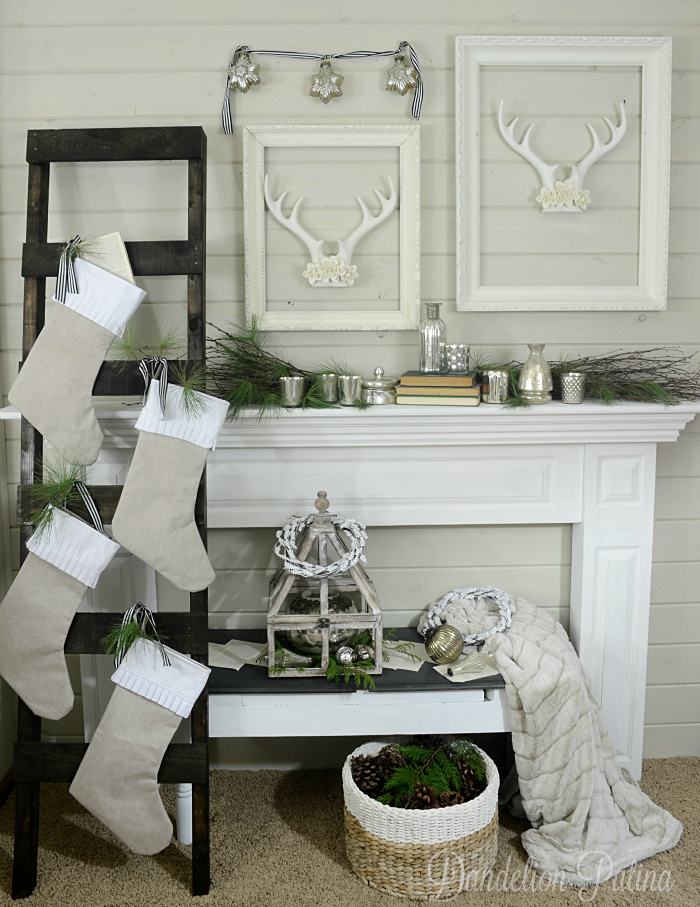 Cozy winter mantel vignette from dandelionpatina.com #farmhousestyle #cottagestyle