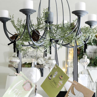 DIY ornament card chandelier via dandelionpatina.com
