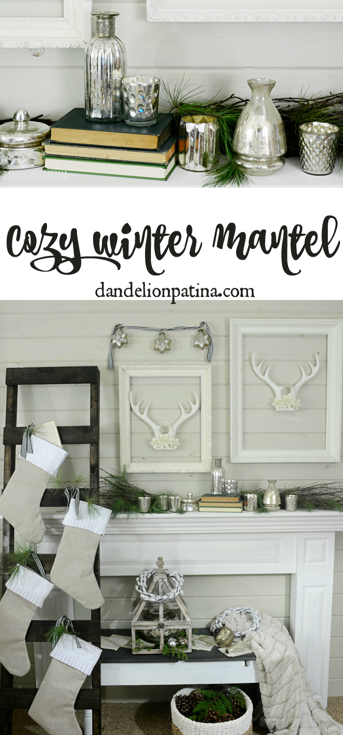 So beautiful! This cozy winter mantel from dandelionpatina.com combines neutral decor with textural elements. This mantel can be left all season long! #mantel #farmhousestyle