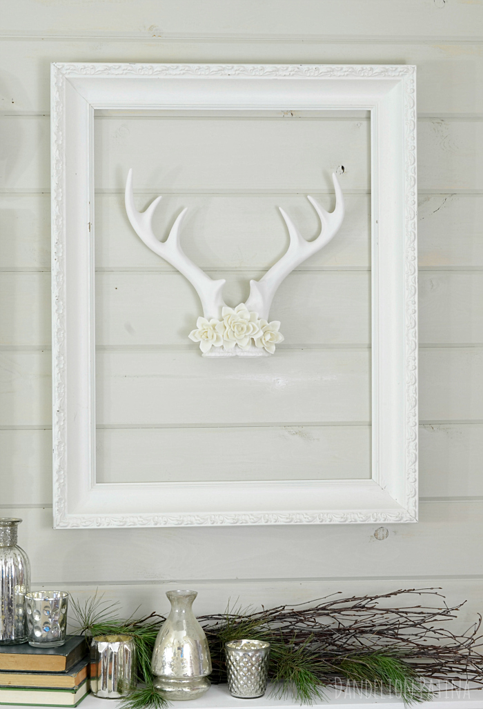 cozy winter mantel with white antlers from dandelionpatina.com #antlers