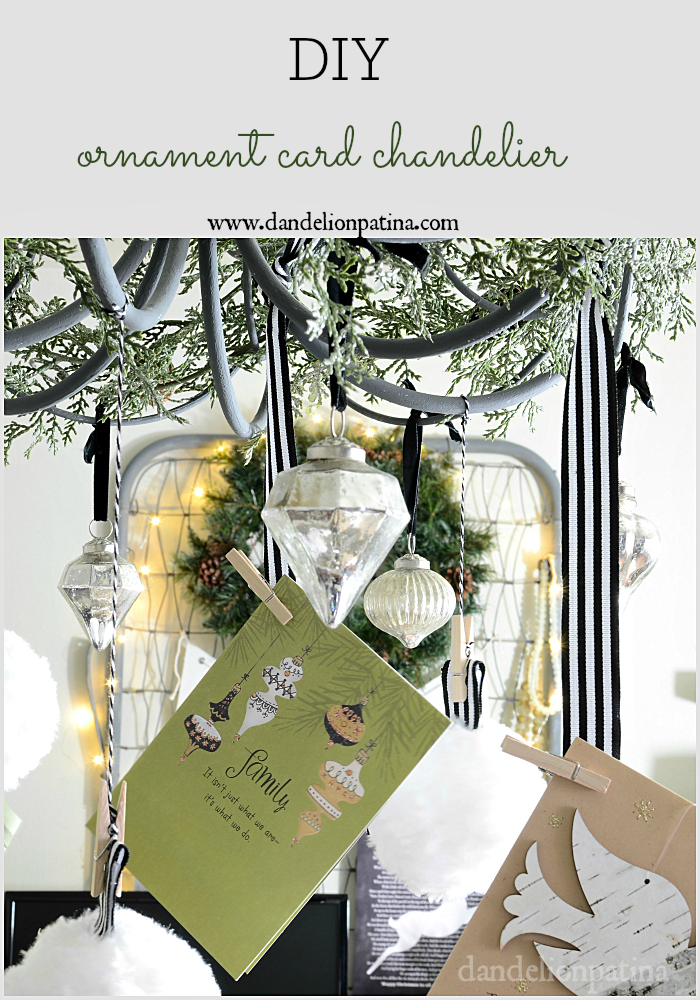 ornament card chandelier via dandelionpatina.com