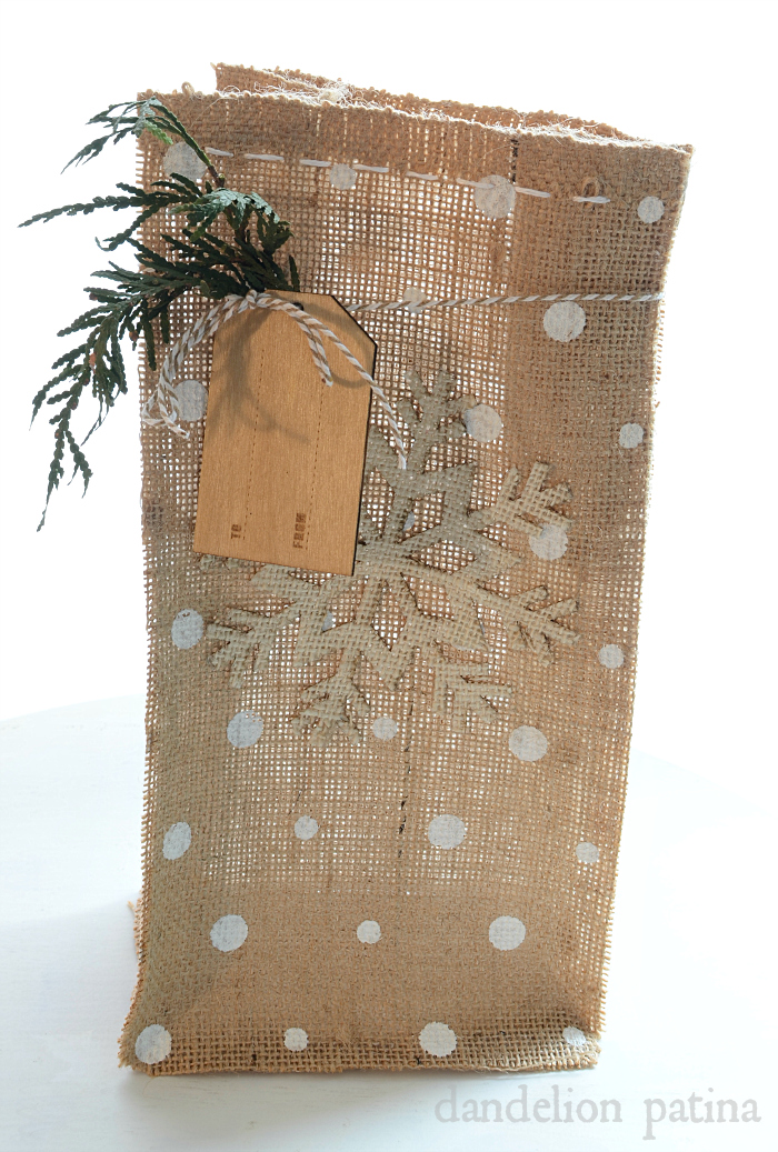 diy burlap gift bag
