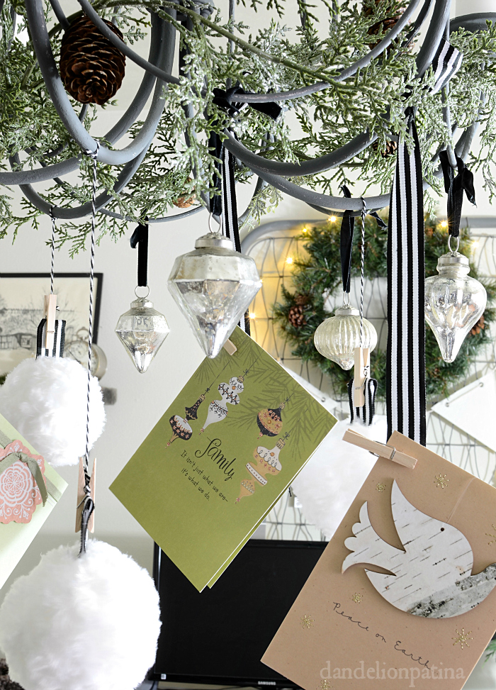faux chandelier with ornaments and card holder