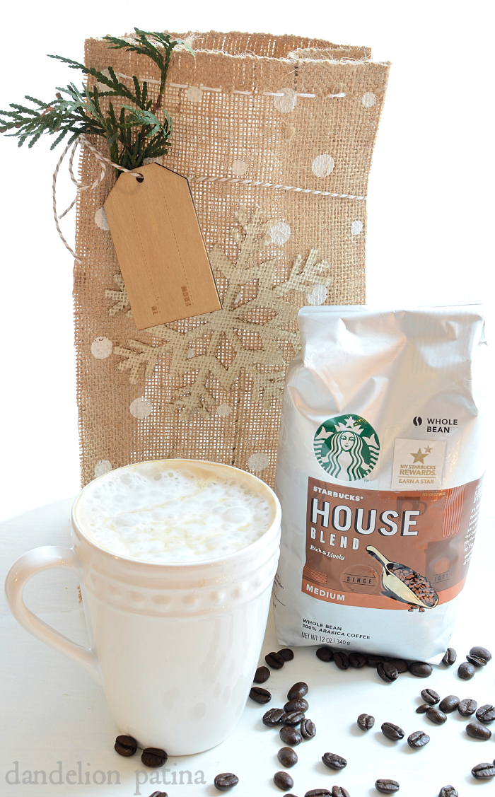 Starbucks DIY burlap gift bag tutorial by dandelionpatina.com