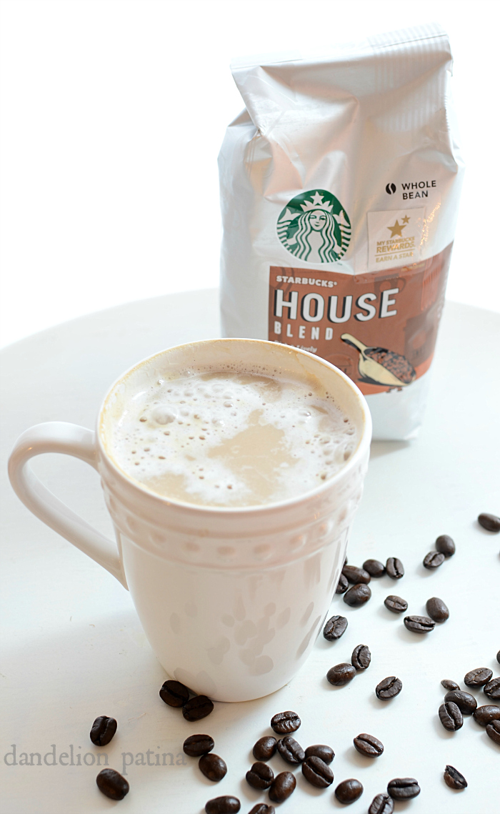 starbucks house blend whole bean coffee with simple and easy burlap gift bags for the holidays via dandelionpatina.com