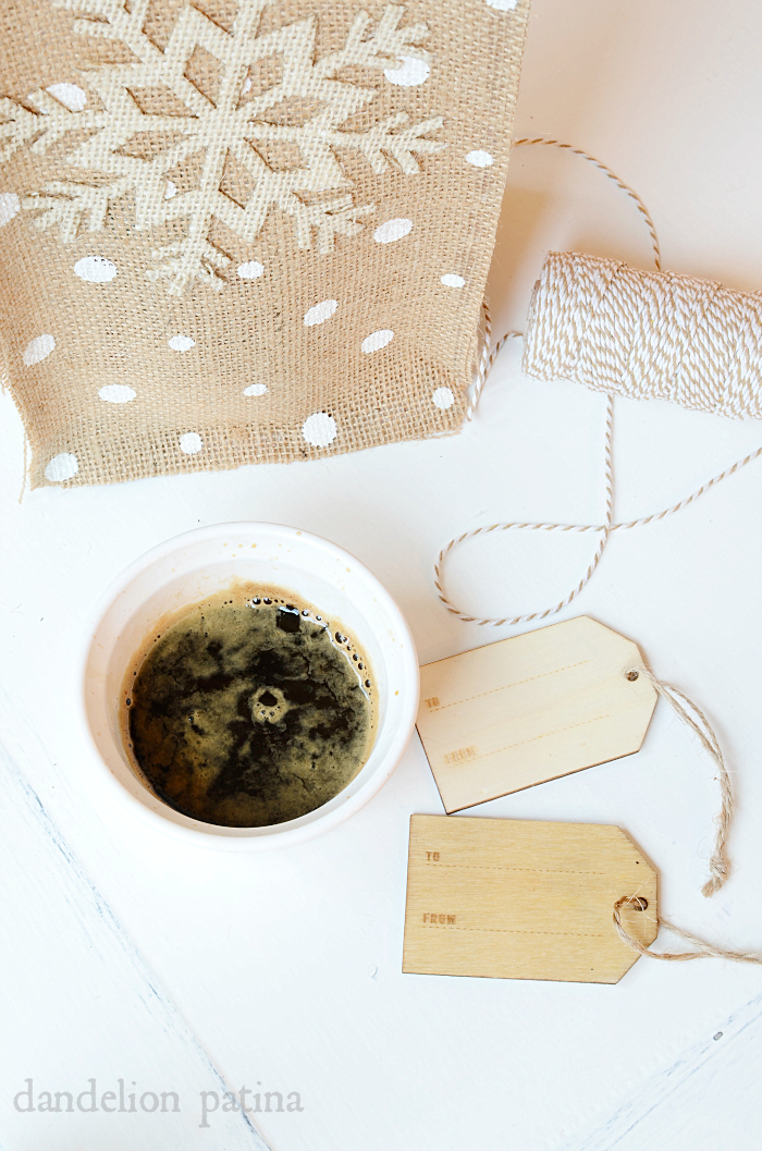 wooden gift tags stained with coffee