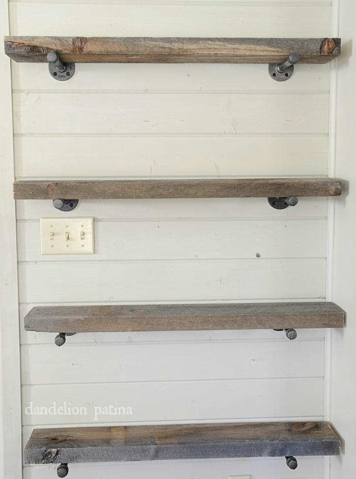 industrial pipe shelving system via dandelionpatina.com