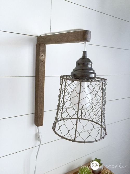 farmhouse DIY wall sconce