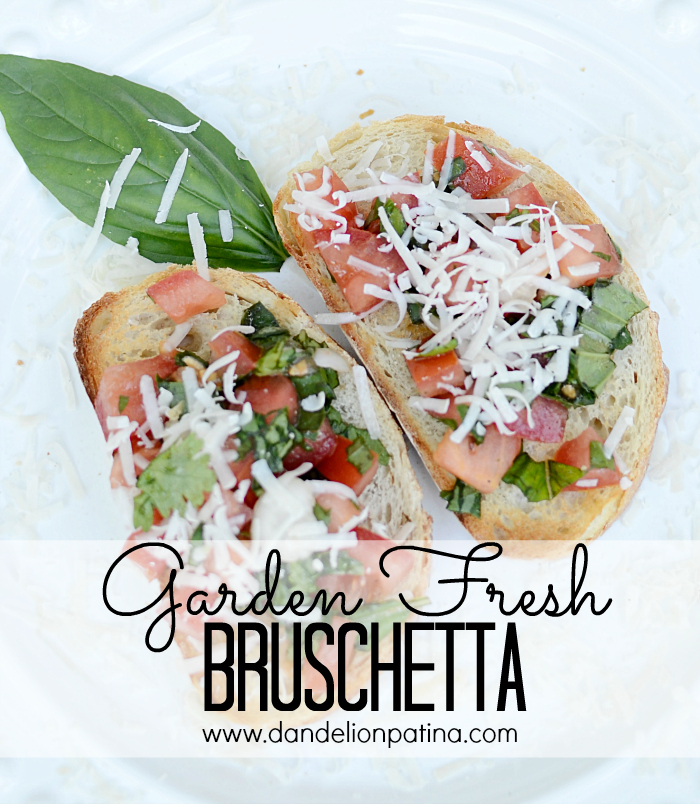 Garden fresh bruschetta with basil and cilantro