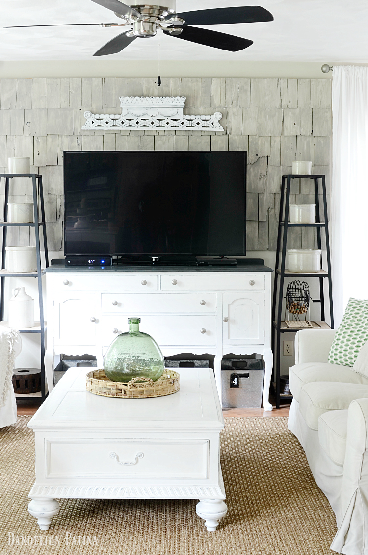 Farmhouse style living room in neutral tones