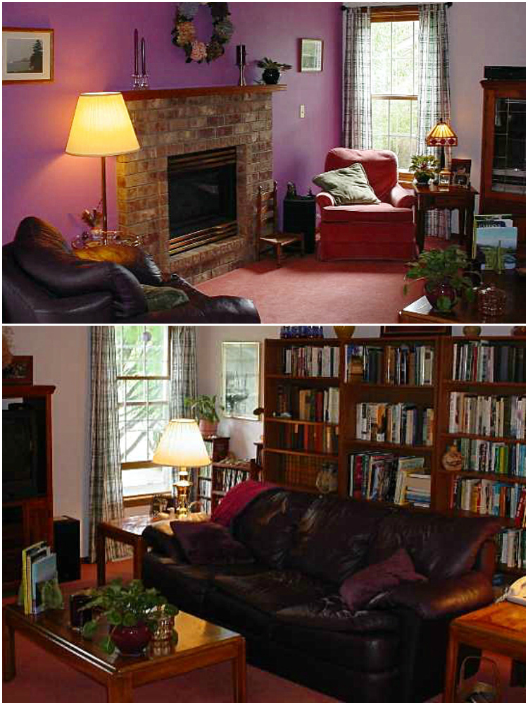 before and after farmhouse style living room 1990's