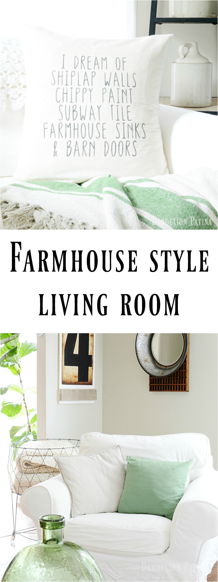 farmhouse style living room simple whites