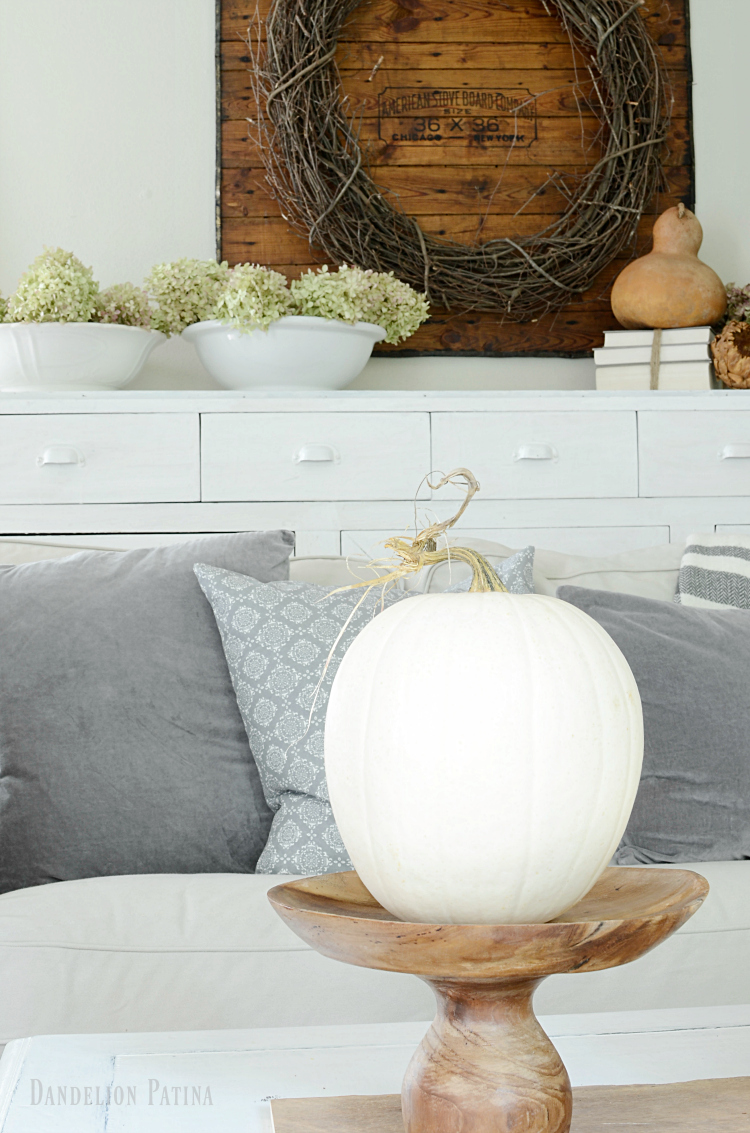 farmhouse fall home tour with white pumpkins and natural elements