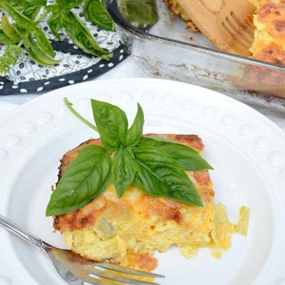 Cheesy Artichoke Breakfast Casserole