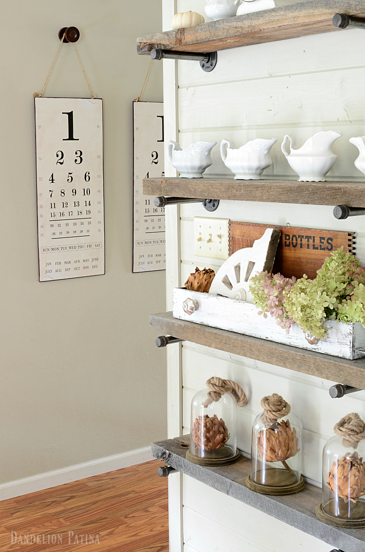 farmhouse fall home tour with industrial pipe shelving