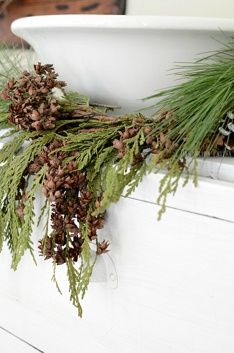 simple farmhouse Christmas greenery