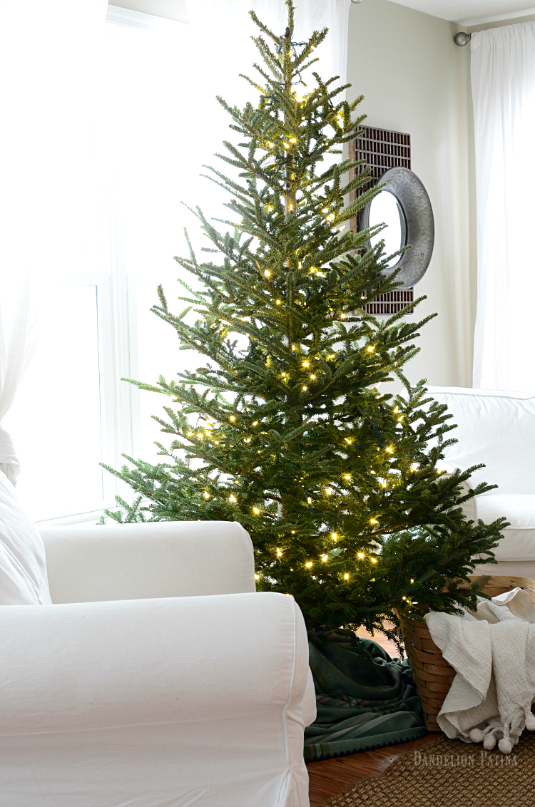 simple farmhouse christmas tree with white lights