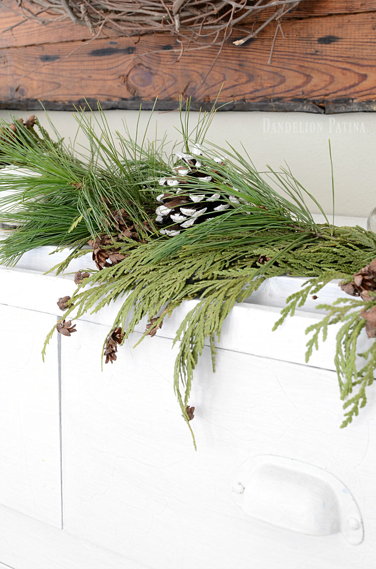 simple farmhouse style Christmas greenery