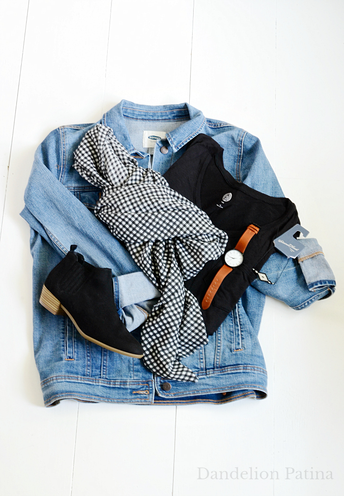 jean jacket and buffalo check fall outfit